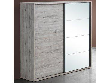 Armoire 2 portes coulissantes couleur chêne rustique EVINA