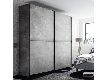 Armoire à portes coulissantes 200 cm gris effet béton CASONE