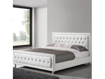 Lit adulte blanc design 160x200 capitonné avec des strass SAMANTHA