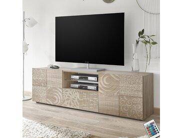 Grand meuble TV 180 cm contemporain chêne clair ELMA 3
