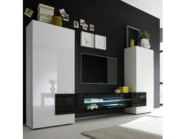 Meuble tv mural blanc et noir laqué LUXOR