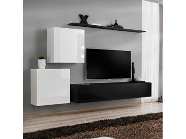 Meuble TV mural blanc et noir PADULA