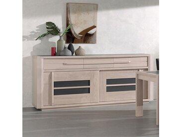 Buffet moderne couleur bois clair et gris foncé CASSANDRE