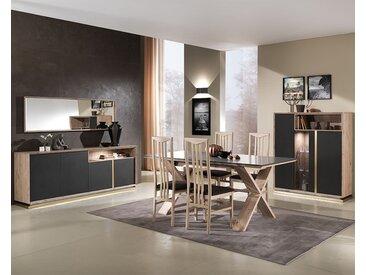 Salle à manger moderne bois et gris anthracite TIBERIUS