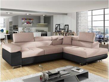 Canapé d'angle convertible tissu rose poudré avec coffre WILLIS 6