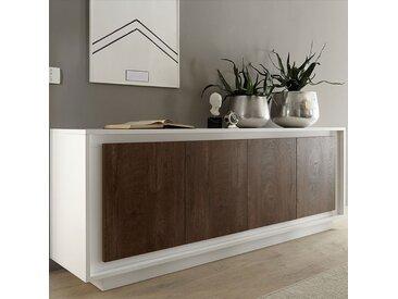 Buffet blanc mat et bois foncé ERINE 6