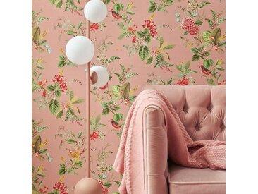 Tapisserie fleur rose blush Constance 10m