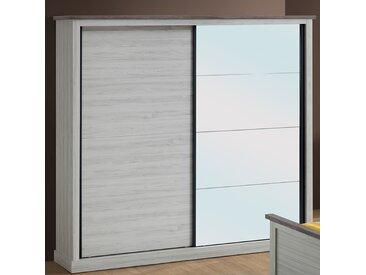 Armoire 2 portes coulissantes couleur chêne clair et marron ELAURA