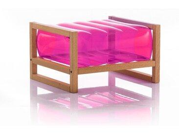 Pouf EKO en bois et TPU Crystal Pink