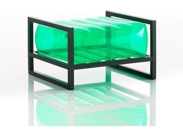 Pouf EKO en aluminium et TPU Crystal Green