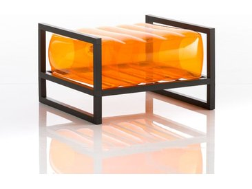 Pouf EKO en aluminium et TPU Crystal Orange