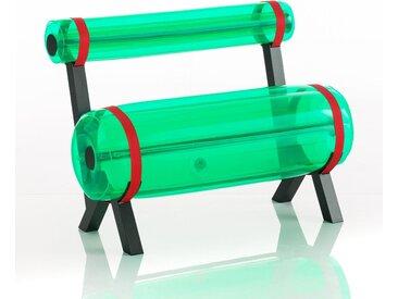 Banc en aluminium et pvc vert cristal L100