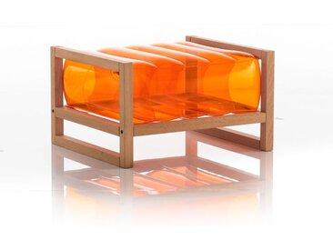 Pouf EKO en bois et TPU Crystal Orange