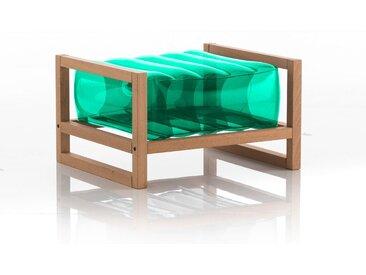 Pouf EKO en bois et TPU Crystal Green