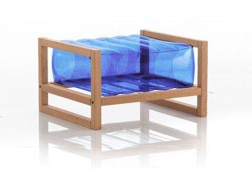Pouf EKO en bois et TPU Crystal Blue