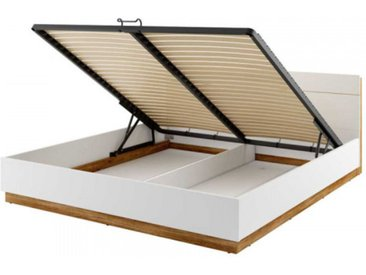 Lit 180x200 sommier coffre DENTRO - blanc - 180 x 200 cm - Panneaux stratifiés - libolion.fr