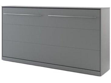 Lit escamotable horizontal CONCEPT gris 90x200 avec matelas - panneaux stratifiés - libolion.fr