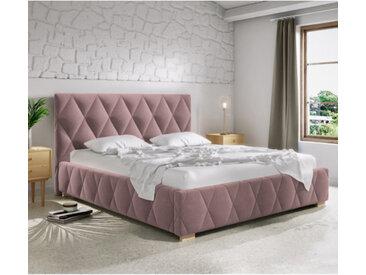 Lit capitonné 160x200 cm TRIVIO avec sommier et textile personnalisable - soro-61 - 160 x 200 cm - MDF (lit) / Polyester (tissu) - libolion.fr
