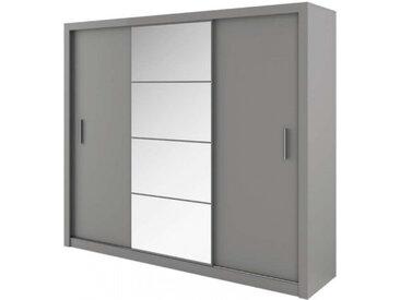 Grande armoire spacieuse largeur 250cm IDEA couleur gris - Panneaux stratifiés - libolion.fr