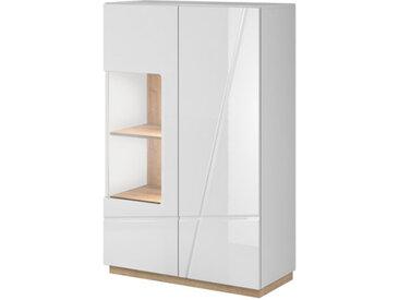 Vaisselier 2 portes sans poignée avec éclairage FUTURA blanc brillant - Panneaux stratifiés - libolion.fr