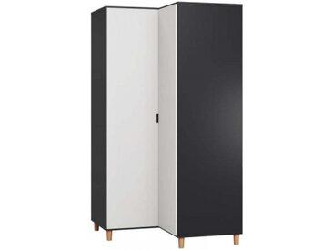 Grande armoire d'angle pour chambre SIMPLE - noir - panneaux stratifiés - libolion.fr