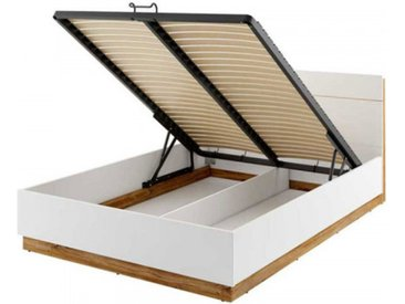 Lit 140x200 avec sommier coffre DENTRO - blanc - 140 x 200 cm - Panneaux stratifiés - libolion.fr