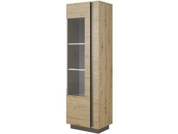 Vaisselier colonne avec vitrine et éclairage ROMEO ET JULIETTE en chêne artisan - libolion.fr