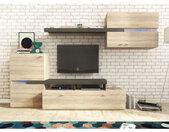 Ensemble meuble TV avec étagère murale JET en chêne sonoma et graphite - libolion.fr