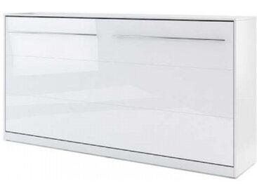 Lit escamotable horizontal CONCEPT blanc brillant 90x200 avec matelas - panneaux stratifiés - libolion.fr