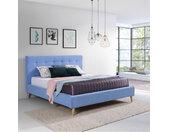 Lit capitonné LENA 180x200 cm couleur bleu avec sommier style scandinave - libolion.fr