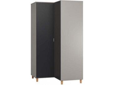 Armoire d'angle SIMPLE pour chambre adulte - gris - panneaux stratifiés - libolion.fr