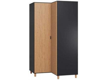 Grande armoire d'angle pour chambre SIMPLE - couleur noir - libolion.fr