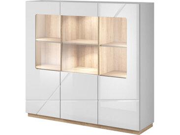 Vaisselier 3 portes avec éclairage LED FUTURA blanc brillant - panneaux stratifiés - libolion.fr