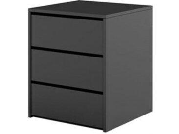Caisson noir 3 tiroirs IDEA pour la chambre - panneaux stratifiés - libolion.fr