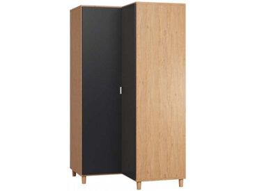 Armoire d'angle SIMPLE pour chambre adulte - couleur chêne - libolion.fr