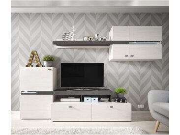 Ensemble meuble TV avec étagère murale JET en pin andersen et graphite - panneaux stratifiés - libolion.fr