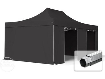4x6 m Tente pliante - Alu, PVC 620g/m², anti-feu, côtés sans fenêtre, noir