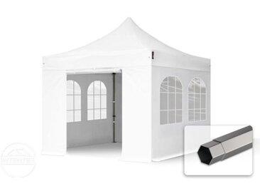 3x3 m Tente pliante - Acier, PVC 520g/m², anti-feu, côtés avec fenêtres, blanc