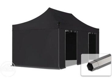 3x6 m Tente pliante - Acier, PVC 520g/m², anti-feu, côtés sans fenêtre, noir