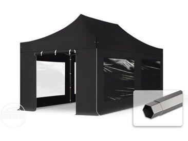 3x6 m Tente pliante - Acier, PVC 520g/m², anti-feu, côtés panoramiques, noir