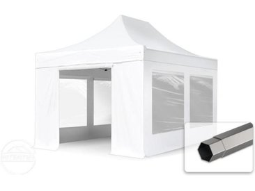 3x4,5 m Tente pliante - Acier, PVC 520g/m², anti-feu, côtés panoramiques, blanc