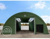9,15m x 26m tunnel de stockage avec fenêtres dans le toit (châssis 2m), H. 4,5m, PVC 720, vert foncé