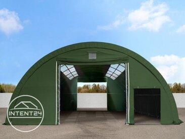 9,15m x 26m tunnel de stockage avec fenêtres dans le toit (châssis 2m), H. 4,5m, PVC 720 g/m² vert foncé