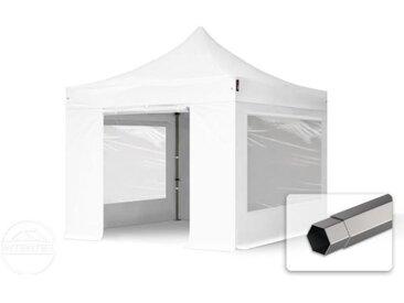 3x3 m Tente pliante - Acier, PVC 520g/m², anti-feu, côtés panoramiques, blanc
