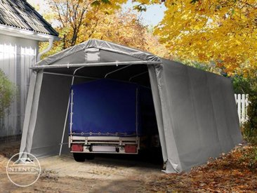 3,3x6,2m garage, abri, PVC 500 g/m², H. 1,95m, gris