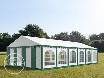 6x12m tente de réception, PVC, H. 2m, vert-blanc