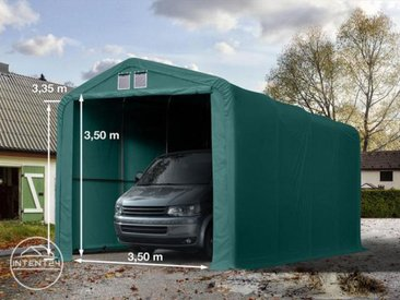 4x8m tente-garage de stockage, porte 3,5x3,5m, toile PVC de 550