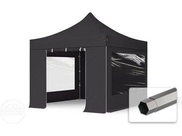 3x3 m Tente pliante - Acier, PVC 520g/m², anti-feu, côtés panoramiques, noir