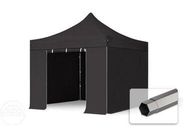 3x3 m Tente pliante - Acier, PVC 520g/m², anti-feu, côtés sans fenêtre, noir