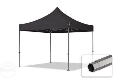 3x3 m Tente pliante - Acier, PVC 520g/m², anti-feu, noir